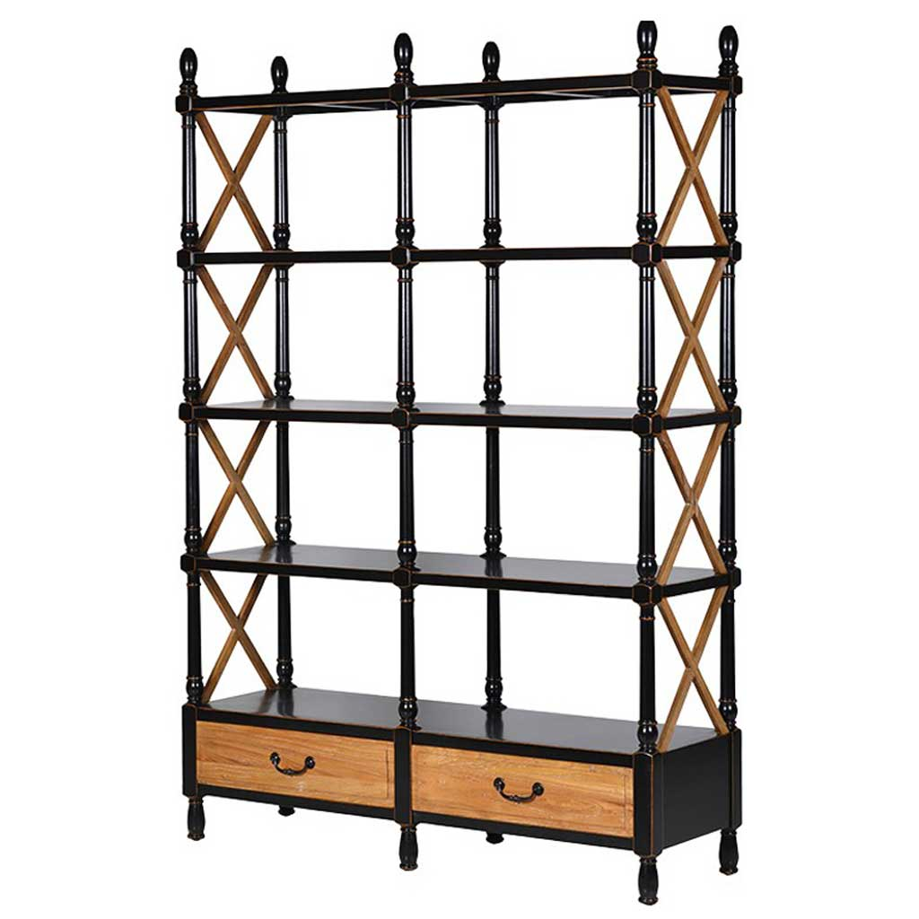 Black double shelf unit