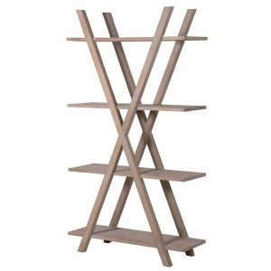 Oak X-frame shelf unit