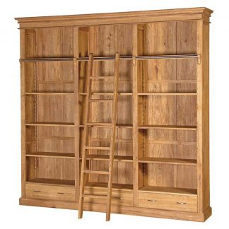 Oak library bookcase with ladder