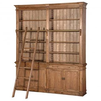 Antiqued oak library bookcase