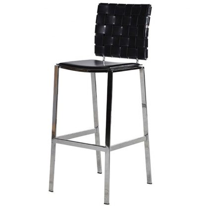 Woodward black weave bar stool