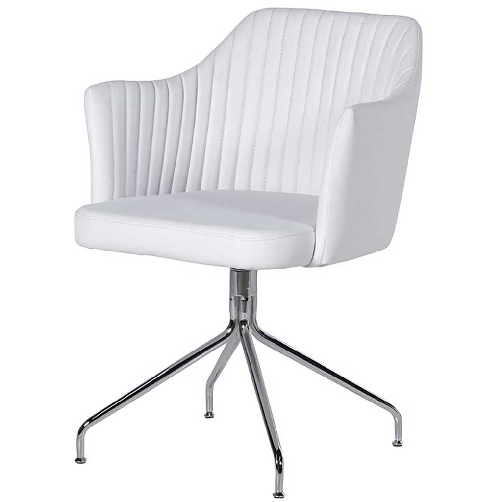 White leather swivel chair