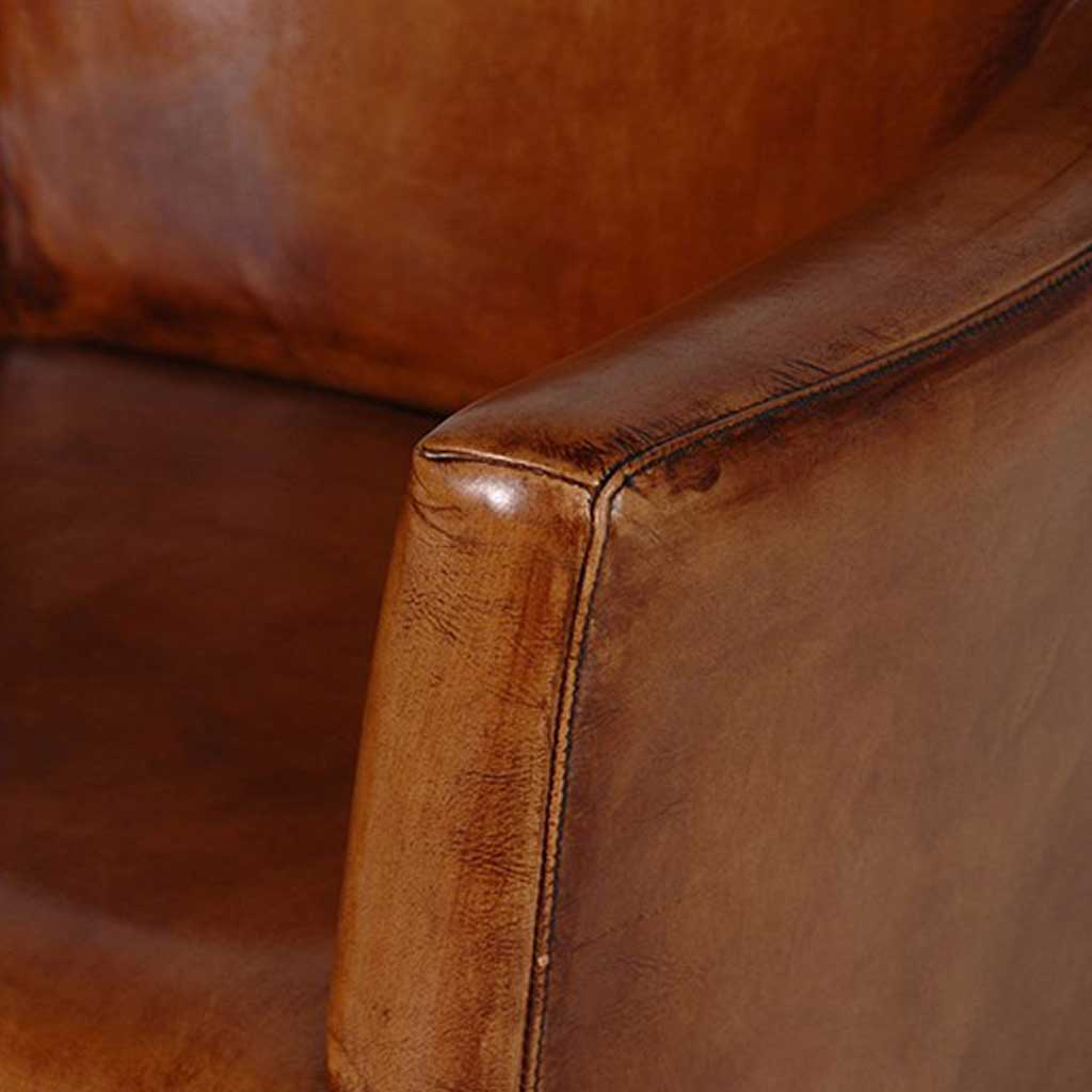 Italian leather armchair close-up