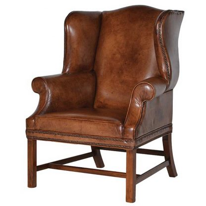 Italian vintage leather wing chair