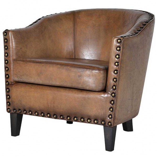Olive Brown Leather Tub Chair