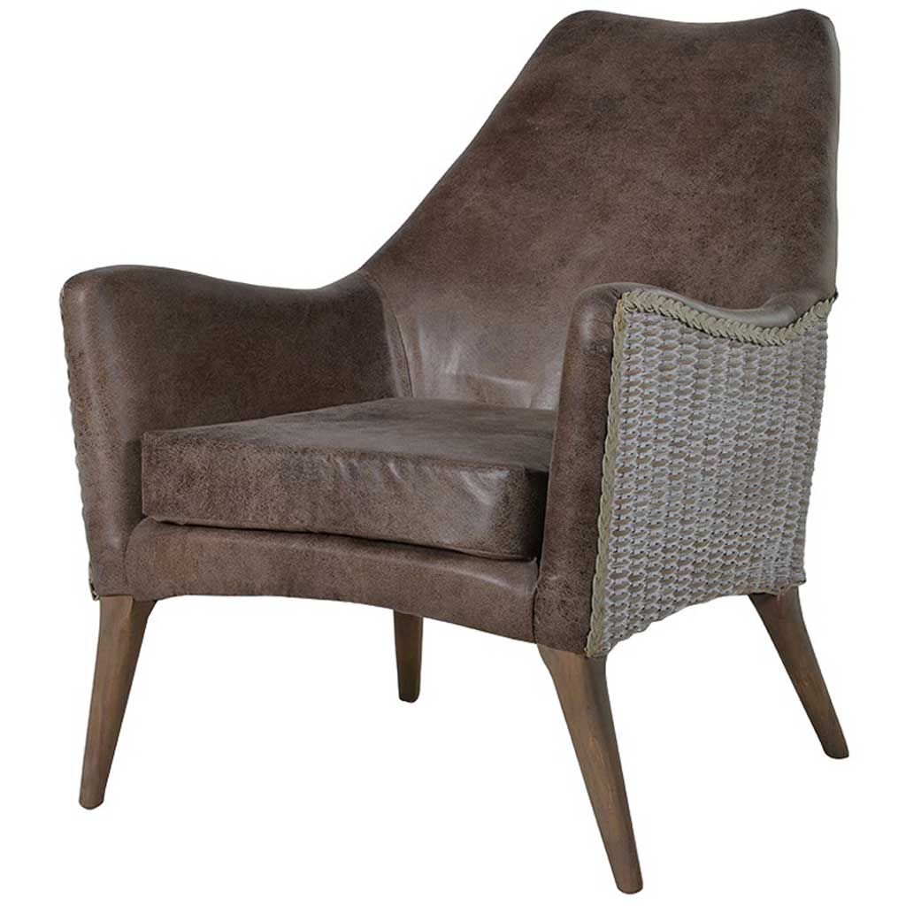 Rattan & faux Leather easy chair