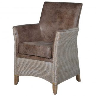 Rattan & faux leather armchair