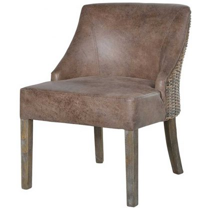 Rattan & faux leather chair