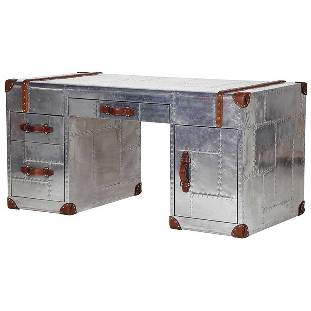 Aluminium leather trim desk
