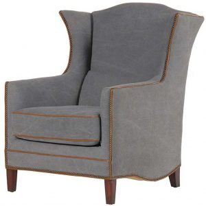 Grey wing armchair