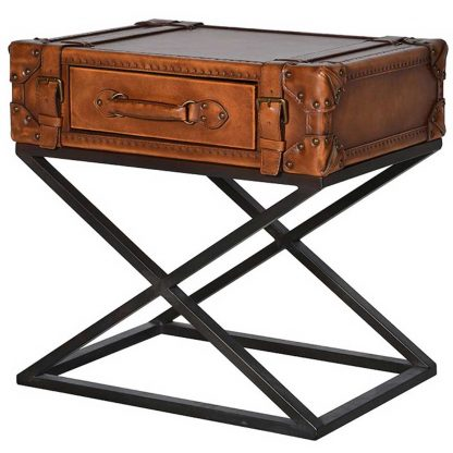 Leather suitcase occasional table
