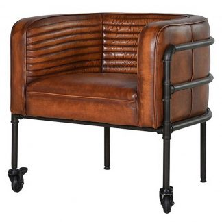 Ribbed leather tub chair