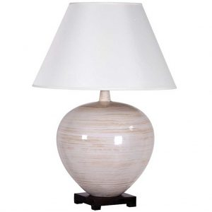 Large white and sand ceramic lamp with shade