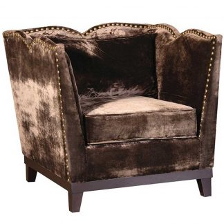 Chocolate velvet armchair