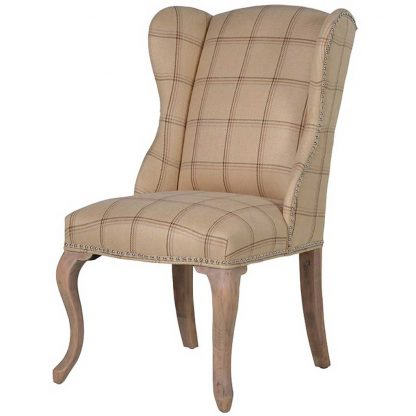 Cabriole leg check dining chair