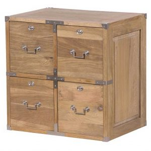 Oak square 4 drawer chest