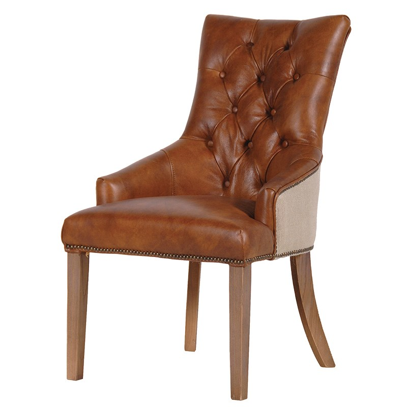 Tan leather button back chair