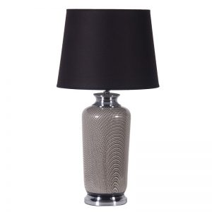 70'S patterned lamp with black shade
