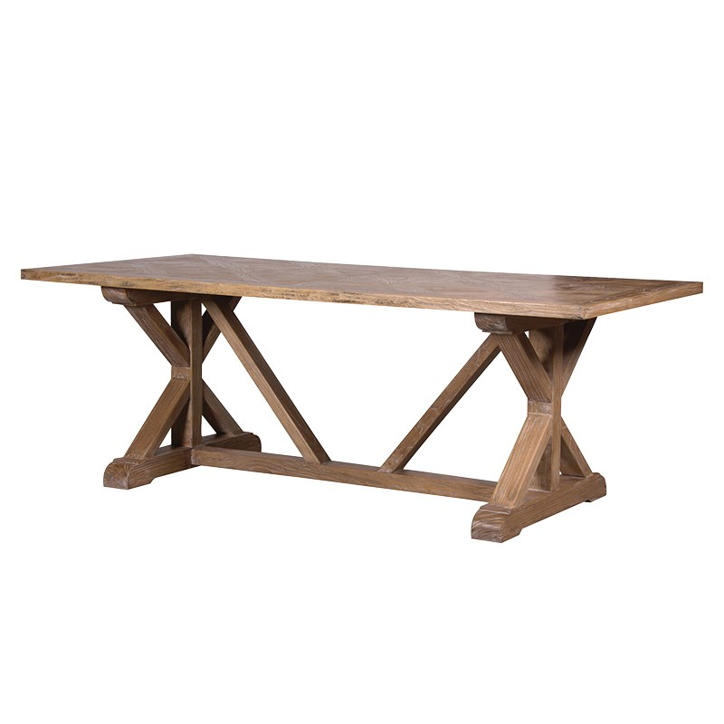 Elm parquet top dining table