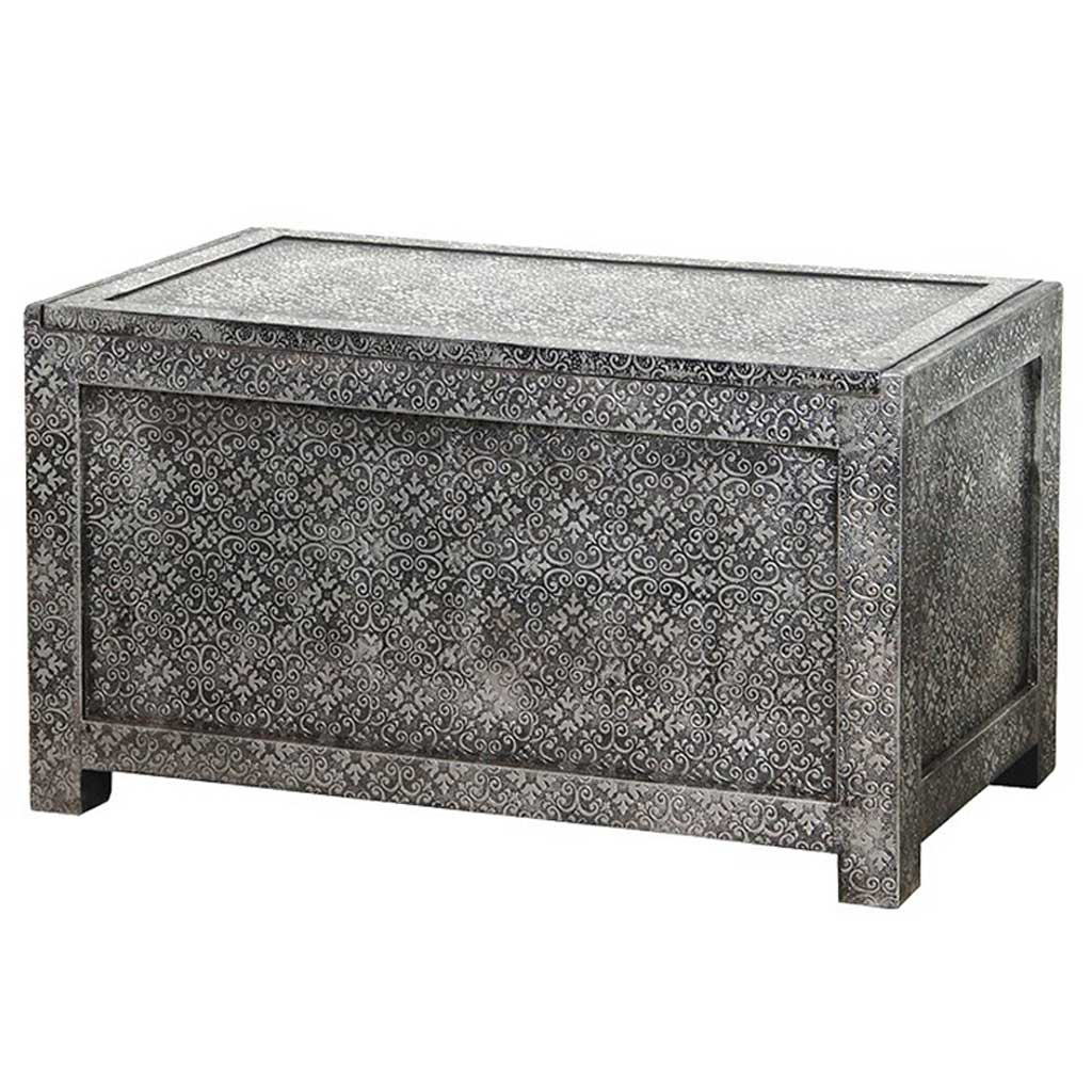 Embossed silver blanket box