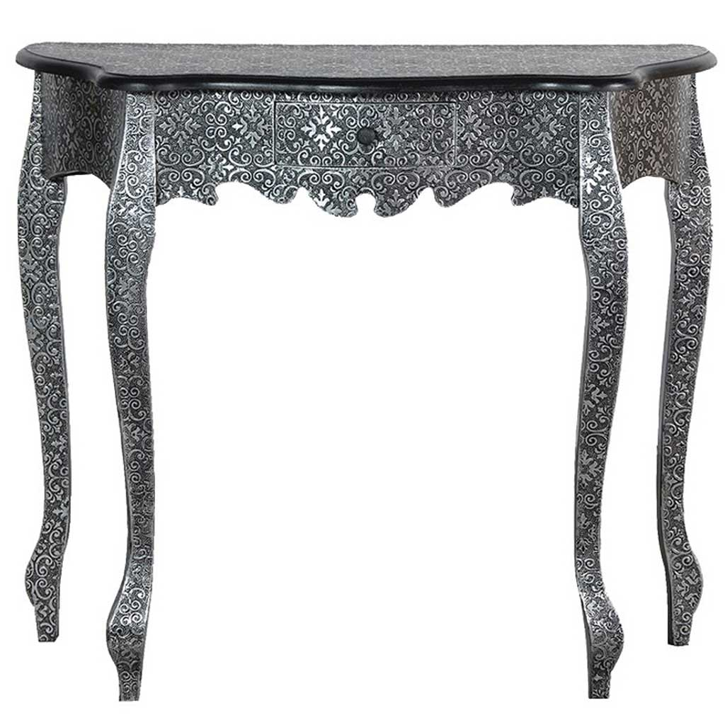 Embossed silver console table