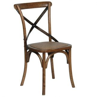 Oak dining chair steel X-back