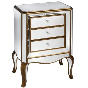 Three drawer Venetian mirrored side table