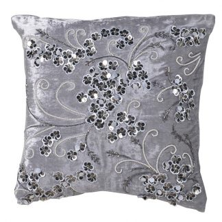 Grey floral beaded cushion