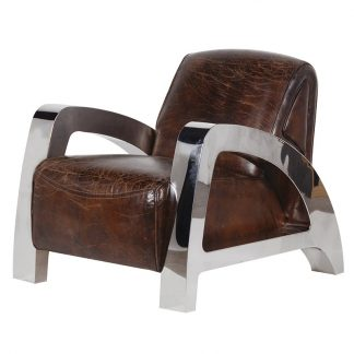Italian leather/steel A-frame armchair