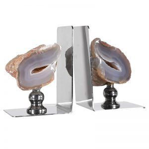 Fossil & steel bookends