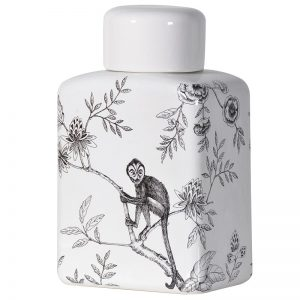 Black & White monkey jar