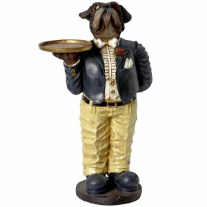 Bulldog waiter with tray