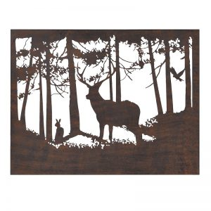Forest stag led lit metal sign