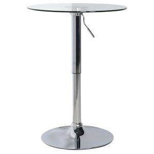 Glass/chrome rise and fall table