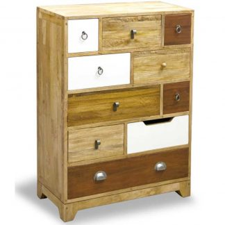 British Retro 10 drawer neutral colours tall chest