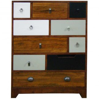British Retro 10 drawer tall cherry finish chest