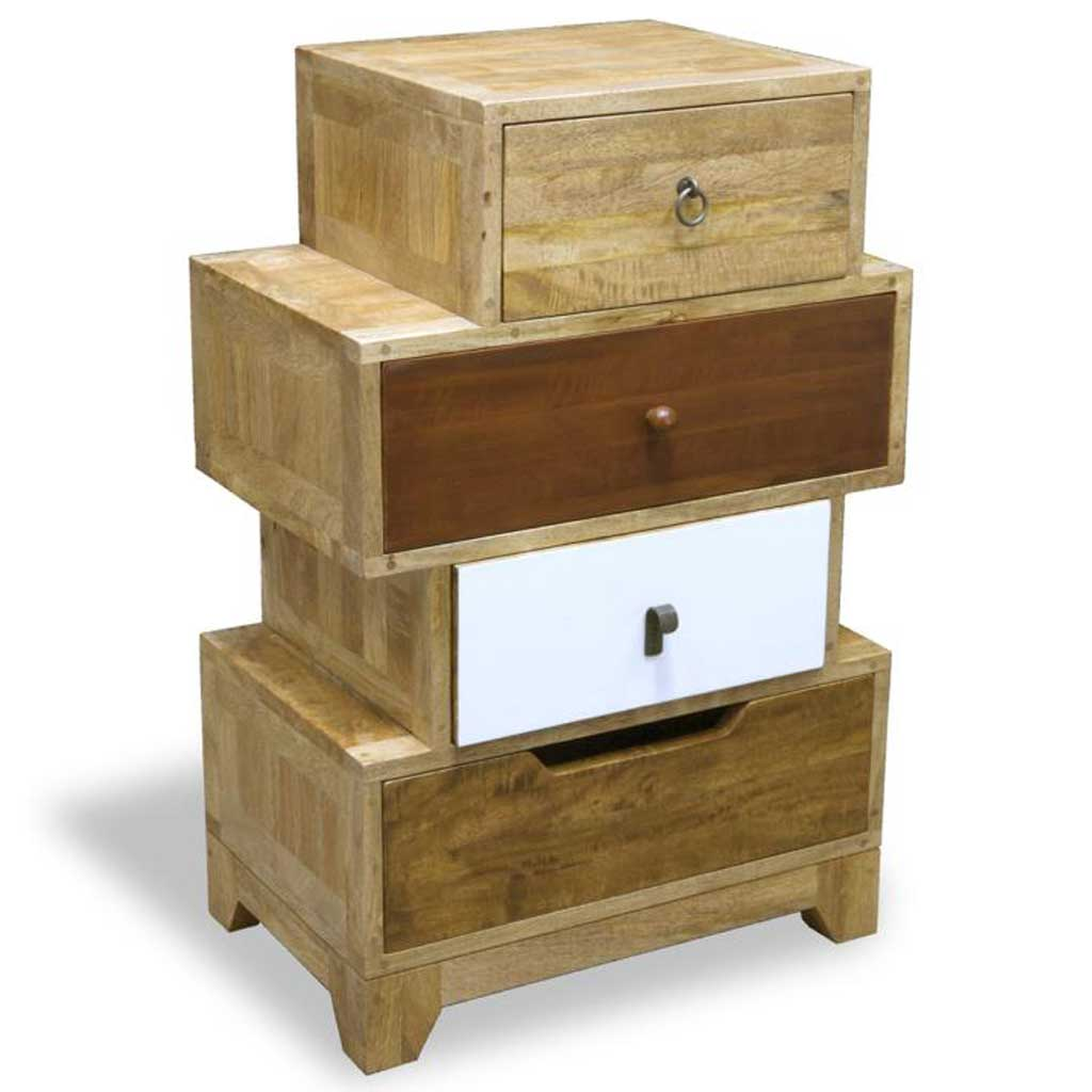 British Retro 4 drawer staggered chest