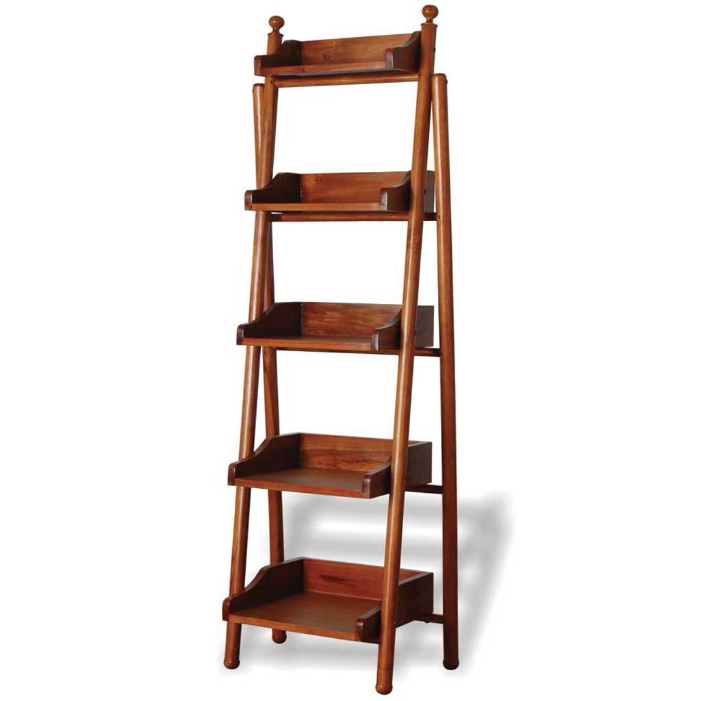 Livingstone leather 5 shelf bookcase